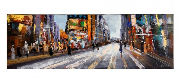 Modern Art Acrylic Painting - Broadway Scene - signed M. Klein