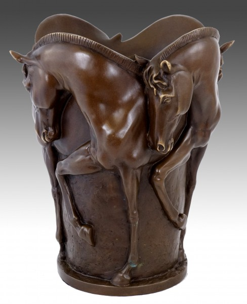 Horse Bronze Statue - Horse Bronze Vase - signed Milo