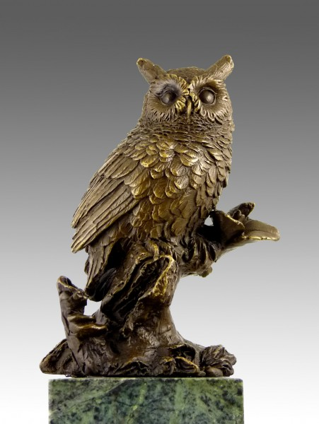 Beautiful bronze owl seated on a branch sculpture created Milo