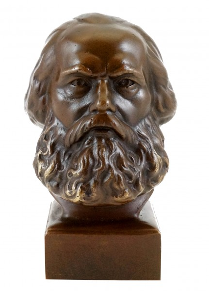 Bronze Head - Karl Marx Bust - signed - Statue