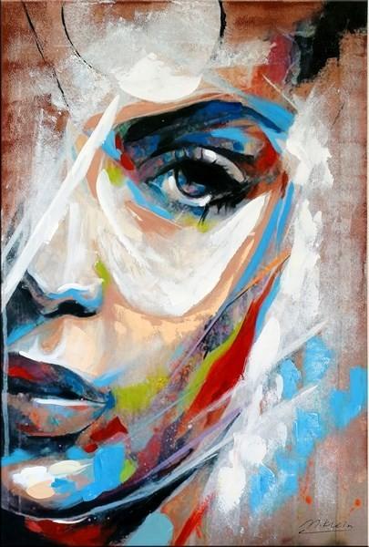 Le visage de femme II - Abstract Acrylic Portrait
