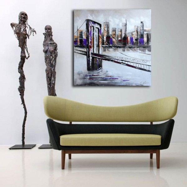 Abstract Cityscape - Brooklyn Bridge - Martin Klein - signed