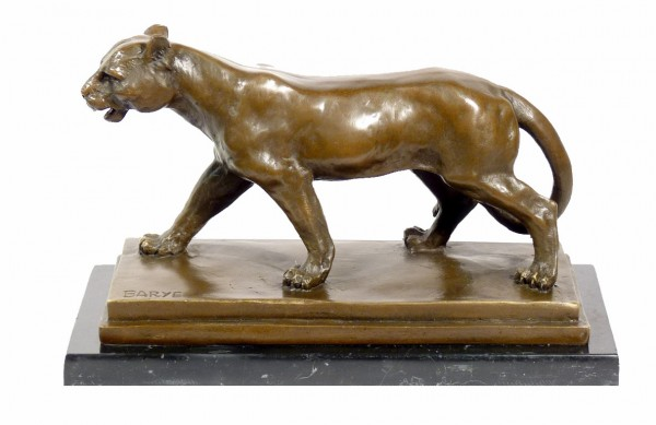 Superb bronze animal sculpture - Walking Panther - signed Barye