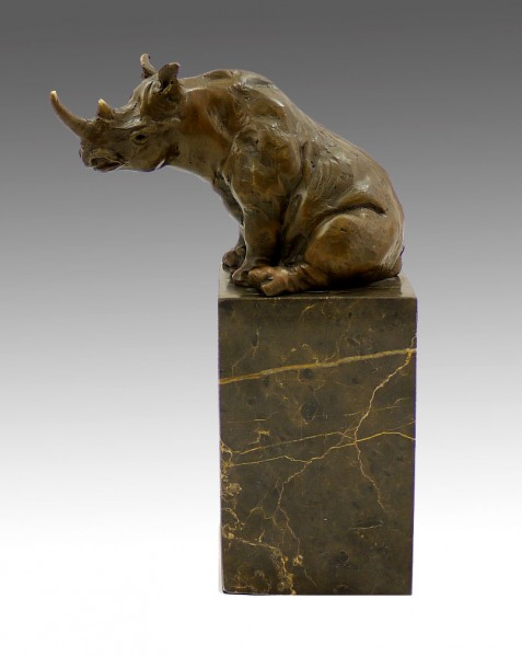 Abstract Animal Sculpture - Sitting Rhino - signed Milo