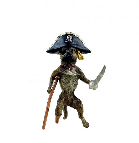 Vienna Bronze Dog - Pirate Pug - Hand-Painted - Funny Dog Figurine