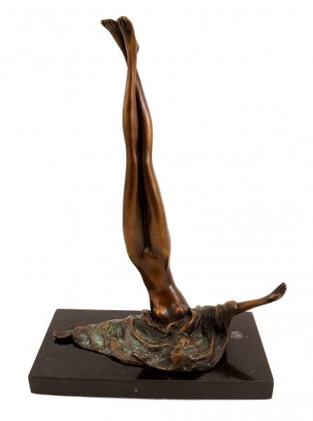 Erotic Female Nude - Bronze on Marble - signed by J. Patoue