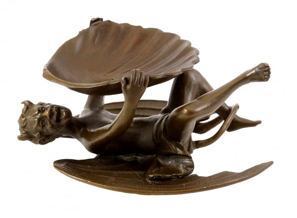 Devil with mussel shell, Vienna bronze, with Bergmann stamp