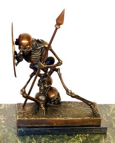 Modern Art Bronze on Marble -Skeleton (The Warrior), signed