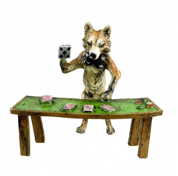 Vienna Bronze - Fox Figurine - Card Player - Hand-Painted - Stamped