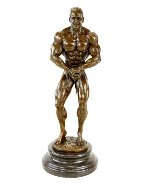 Bronze Bodybuilder Figurine Arni - Trophy - Signed Milo