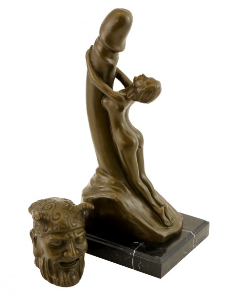 Two-piece erotic Bronze - Phallus worshipping Woman