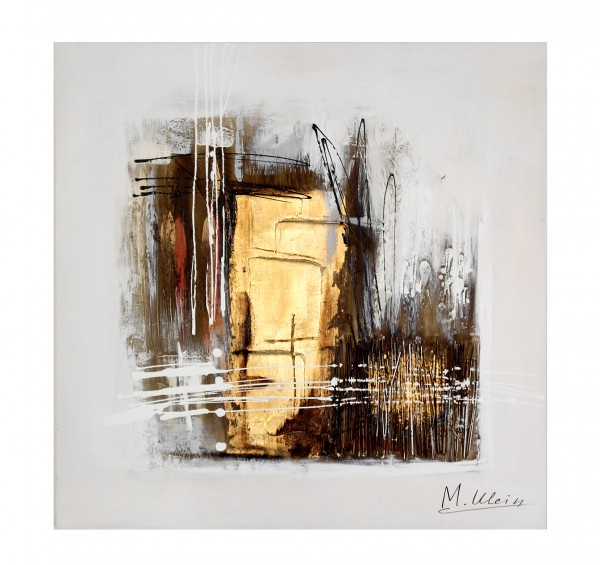 Modern Art Oil / Acrylic Painting - Gold - signed Martin Klein