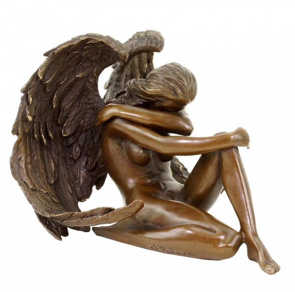 Sitting Angel Sculpture - Bronze Erotic Nude - signed Patoue