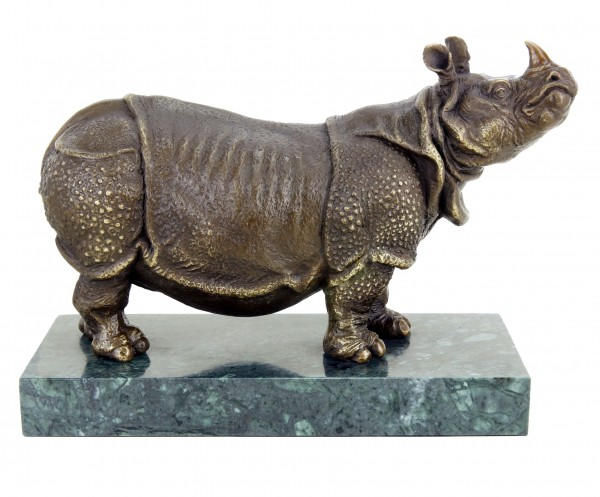 Rhinoceros Bronze Figurine by Rembrandt Bugatti - Animal Rhino Statue