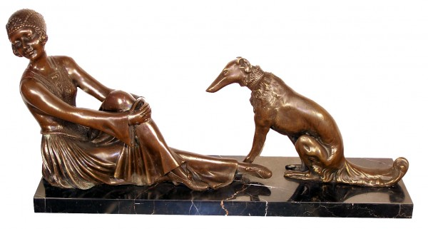 Art Deco Bronze, Woman and Dog on Marble signed Chiparus