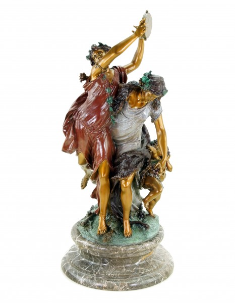 Bacchanal According to Clodion - Signed Bronze Statue in Rococo Style