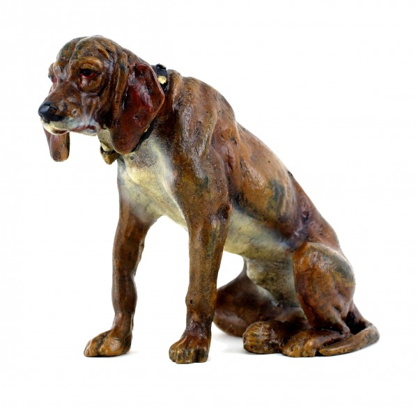 Vienna Bronze Dog - Sitting Hound - Dog Sculpture - Bergmann Stamp