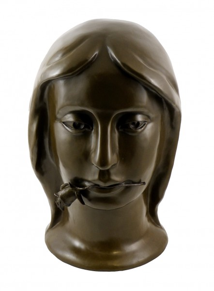 Bronze Head - Girl with Rose - signed by Otto Gutfreund
