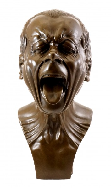 Bronze head with a stretched out tongue - F. X. Messerschmidt