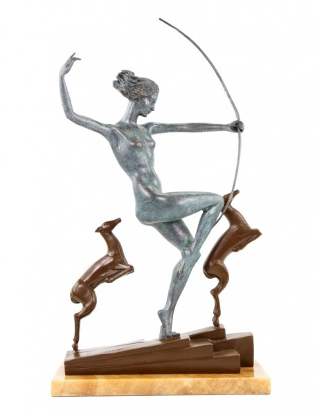 Art Deco Bronze Statue - Diana with fawns - signed A. Bouraine