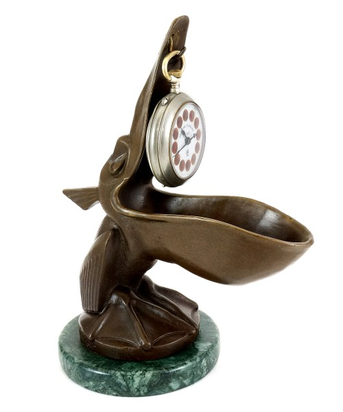 Art Deco Clock Stand - Pelican Model - Signed by Verler