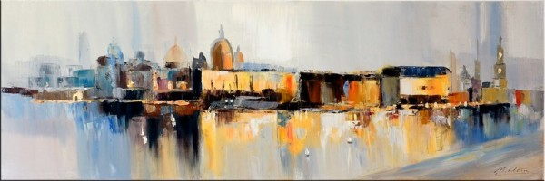 Modern Art Canaletto Silhouette Dresden II - Oil Painting