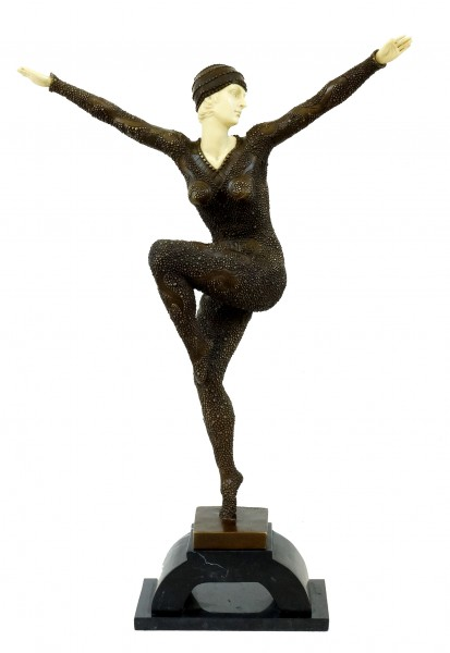 Tall Art Deco Sculpture - Female Dancer on Marble - Chiparus