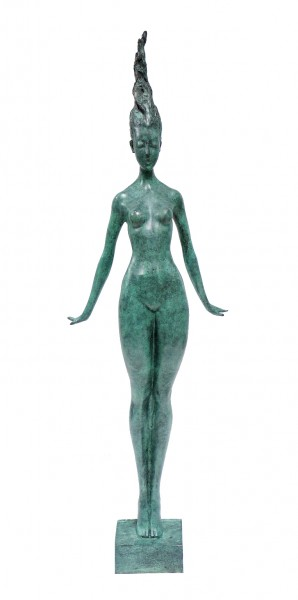Slender Woman Nude of Bronze - Floating Girl - signed by Milo