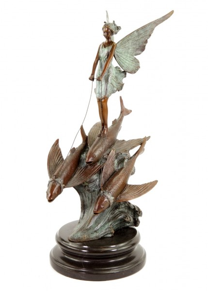Limited Art Nouveau Bronze Statue - Elf Riding on Flying Fish by Milo