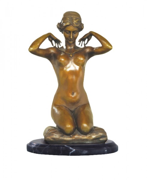Art Nouveau Nude Bronze - New Necklace - signed Paul Ponsard