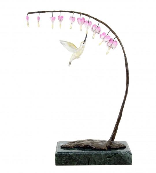 Bird Bronze Hummingbird at Bud - Limited Bronze Sculpture - Animal