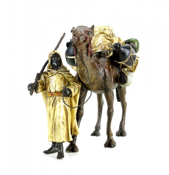 Arabian Warrior With Camel - Vienna Bronze - Stamped
