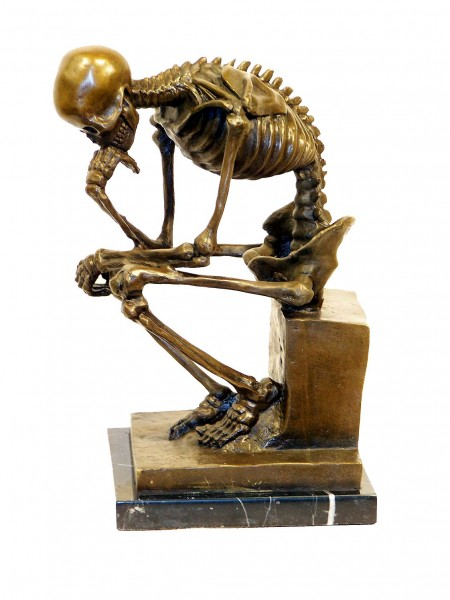 Modern Art Bronze on Marble -Skeleton (The Thinker) after Rodin