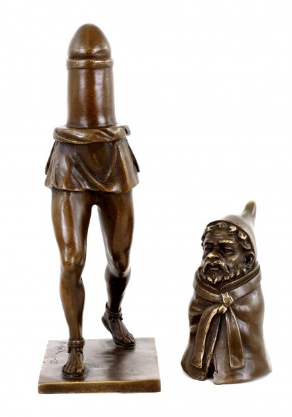 Priapus God of Fertility - Erotic Bronze Figurine in Two Parts