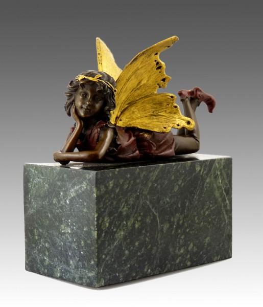 Cute bronze figure - procumbent fairy elfin - signed by MILO