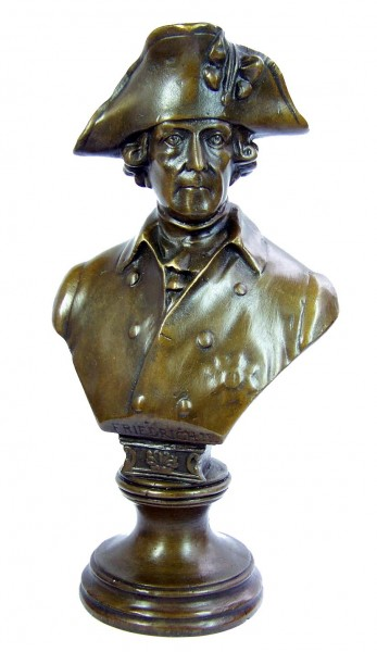 Frederick II. the Great bronze bust, small hat -sign. Gladenbeck
