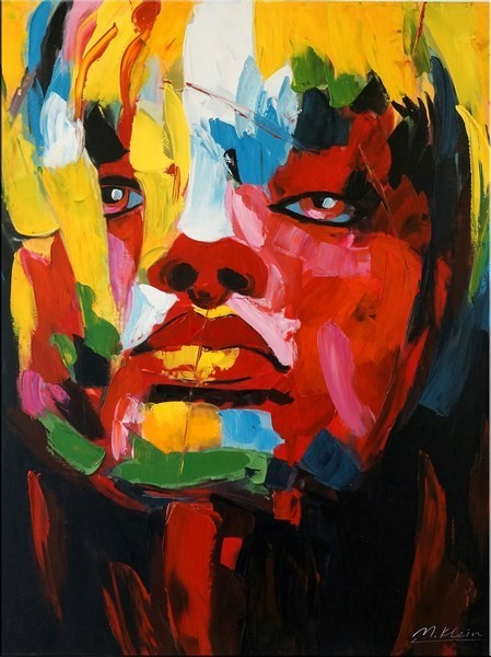 Le visage de femme I - Abstract Acrylic Painting on Canvas