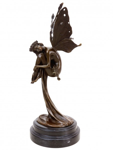 Bronze Fairy - Dreaming Fairy in a Gown - Signed Césaro - Limited
