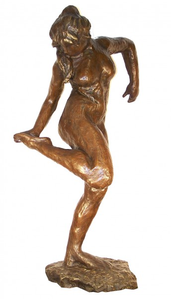 Large Sculpture - Dancer looking at her right foot - sign. Degas