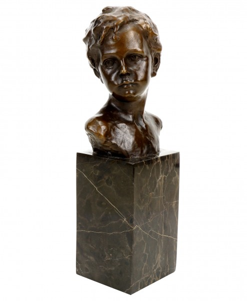 Art Nouveau Bronze Figurine - Bust of a Boy - Signed A. Moreau