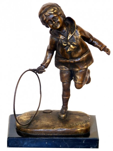 "Art Deco Bronze ""Boy with Hoop"" on marble base, by Chiparus"