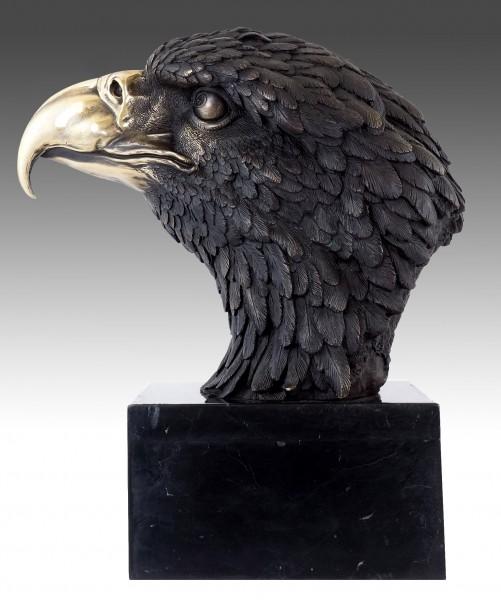 XXL Bronze Animal Sculpture - Sea Eagle on Marble - sign. Milo