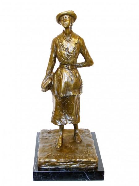 Modern Art Bronze Sculpture - The Schoolgirl, after Edgar Degas
