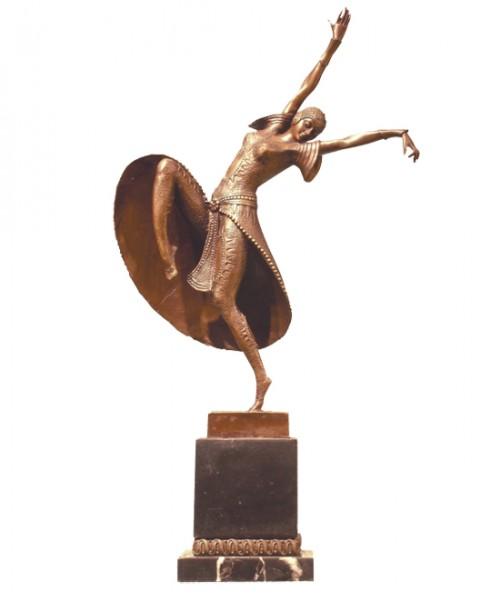 Art Deco Bronze Dancer, D.H. Chiparus on Marblebase