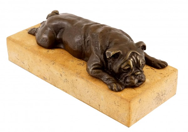 British Bulldog on a yellow natural stone base - Bronze Figure