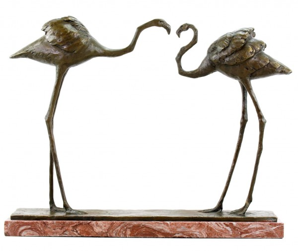 Two Flamingos (1912) - signed Bronze Figurine by Bugatti - numbered