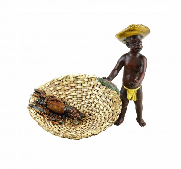 Vienna Bronze Figurine - Fishing Blackamoor with Lobster - Hand-Painted
