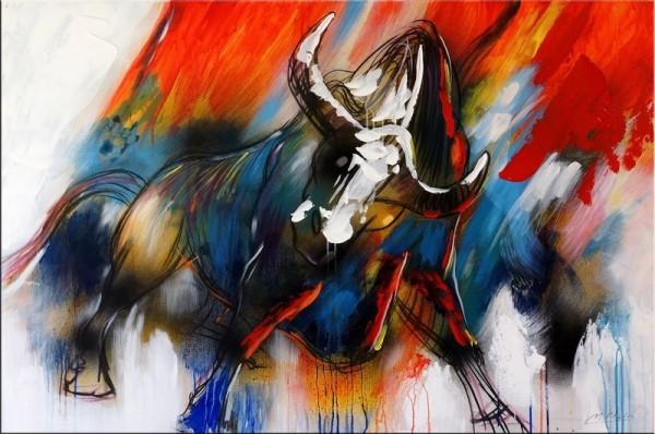 Wild Bull / Acrylic Painting on Canvas - Martin Klein