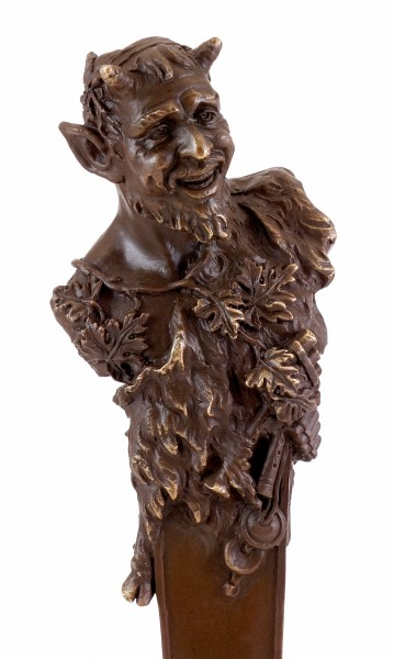 Vienna Bronze Sculpture - Bust of a Faun - Bergmann Seal