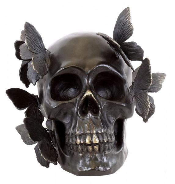 Bronze Skull with Butterflies - signed Martin Klein